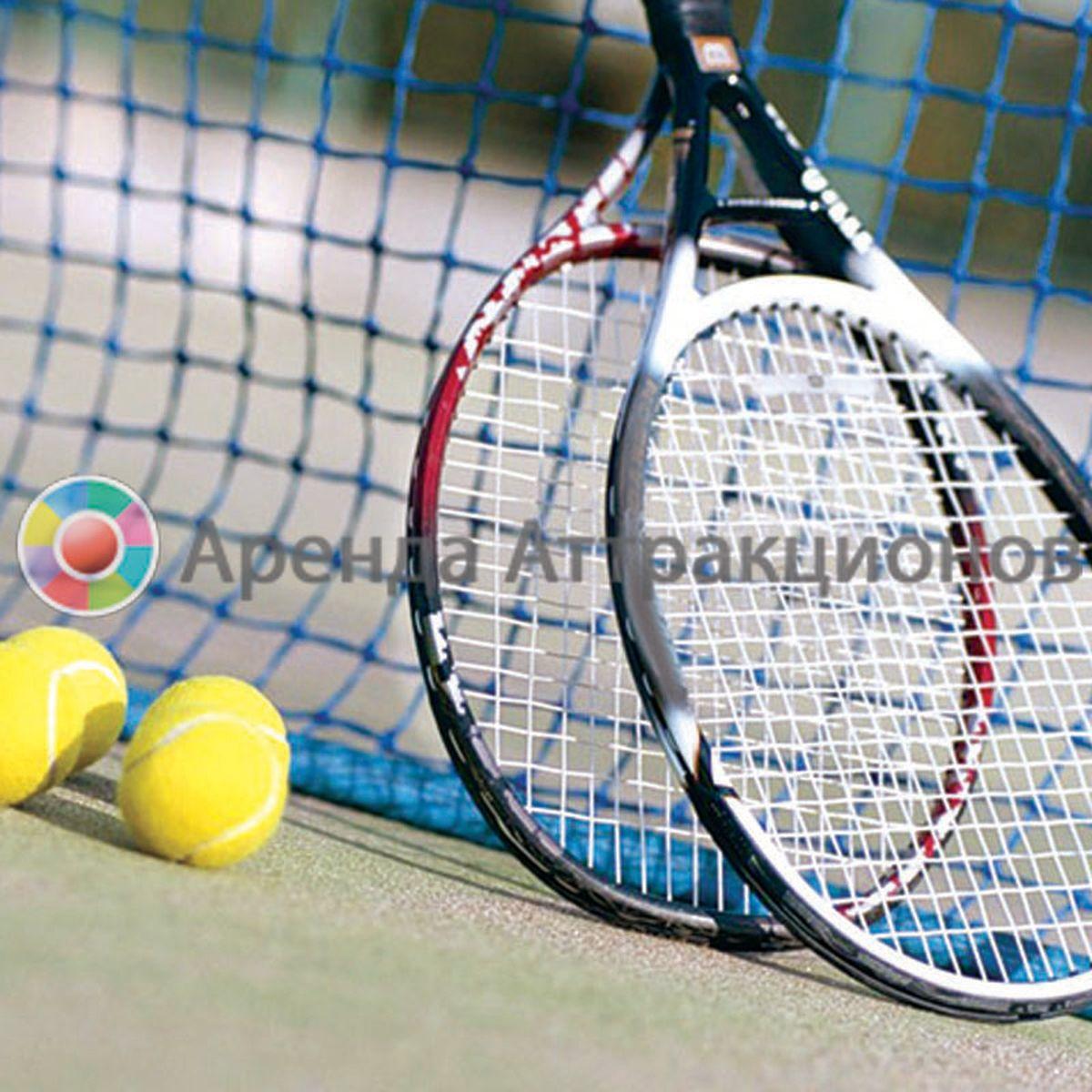 Ракетки для большого тенниса с мячами на поле для игры.